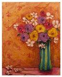 Bouquet in Striped Vase Art Print