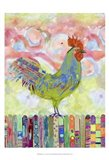 Rooster on a Fence I Art Print
