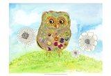 Owl & Flowers Art Print