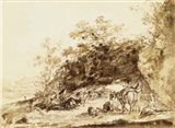 Sepia Landscape with Horses Art Print