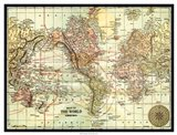 World Map with black border Art Print