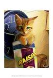 Orange Cat in Raisin Box Art Print