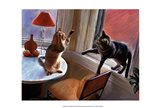 Cats Fighting Art Print