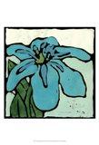 Teal Batik Botanical I Art Print
