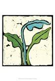 Teal Batik Botanical IV Art Print