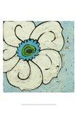 Aqua Batik Botanical II Art Print