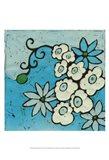 Aqua Batik Botanical IV Art Print