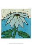 Aqua Batik Botanical VI Art Print