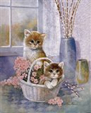 Flower Basket with Cats Art Print