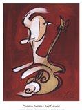 Red Guitarist Art Print