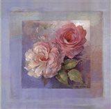 Roses on Blue I Art Print