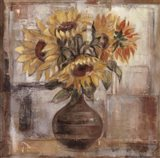 Sunflowers In Bronze Vase Art Print