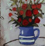 Blue Pitcher Bouquet Art Print