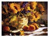 Sunflowers With Purple Art Print