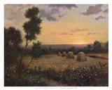 Haystacks At Dusk Art Print