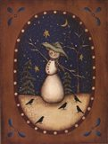 Snowman with Crows Art Print