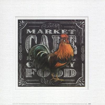 Chalkboard Rooster Cafe Art Print by Allen