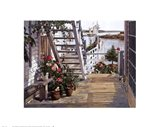 Blue Stair and Begonias, 1987 Art Print