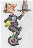 Unicycle Waiter Art Print