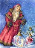 Old Santa with Gifts Art Print