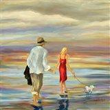 Walking Down the Shore Art Print