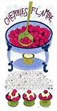 Cherries Flambe Art Print