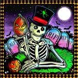 Skeleton and Pumpkin Art Print