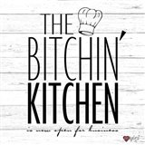 Bitchin Kitchen - White Wood Art Print