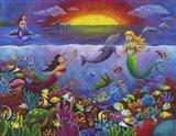 Underwater Mermaids Sunset Art Print