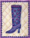 Boots Blue With Pink Flowers Dots Art Print