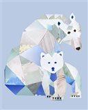Polar Bears Gray Art Print