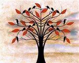 Black Birds on Tree Art Print