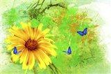Yellow Flower And Butterflies Art Print