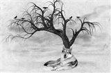 Lone Wolf And Tree Art Print
