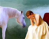 Sad Girl And Horse Art Print