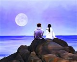 Together Watching The Moon Art Print