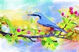 Spring Flowers And Bird 6 Art Print