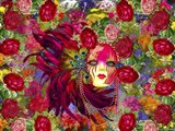Mask And Red Flowers Art Print