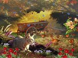 The Cat And Birds Art Print