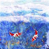 Red Twin Fish Art Print