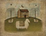 Log Cabin Sheep Art Print
