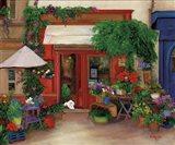 Red Flower Shop Art Print