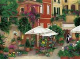 Flowers By The Cafe Art Print
