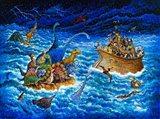 Noah And The Dinosaurs Art Print