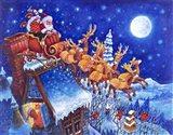 Santa Over the Roof Art Print