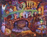 By the Fireplace Art Print