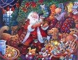 Santa with Pets Art Print