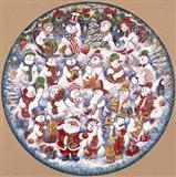 Santa And The Snowfolks Art Print