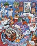 Blue Bedroom Cats Art Print