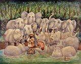 Noah - Elephants-Rhinos-Hippos Art Print